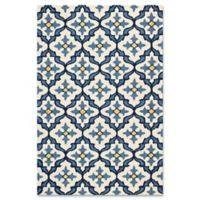 KAS Harbor Mosaic 5-Foot x 7-Foot 6-Inch Indoor/Outdoor Area Rug in Ivory/Blue