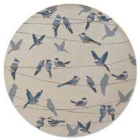 KAS Harbor Birds On A Wire 7-Foot 6-Inch Round Indoor/Outdoor Area Rug in Ivory