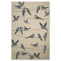 KAS Harbor Birds On A Wire 7-Foot 6-Inch x 9-Foot 6-Inch Indoor/Outdoor Area Rug in Ivory