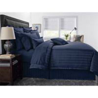 Wamsutta® 500-Thread-Count PimaCott® Damask Stripe King Duvet Cover Set in Navy