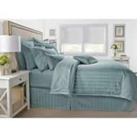 Wamsutta® 500-Thread-Count PimaCott® Damask Stripe King Duvet Cover Set in Aqua