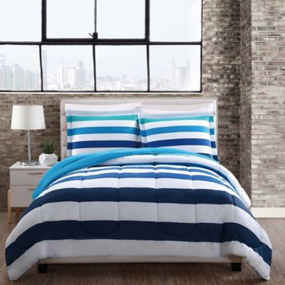 Style 212 Montauk Stripe Reversible 3 Piece Full/Queen Comforter Set In Blue