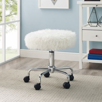 Faux Fur Backless Office Chair in White Bed Bath Beyond