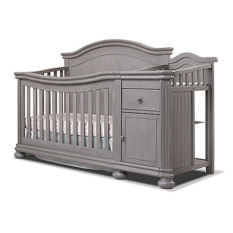 sorelle finley crib changer in weathered grey buybuy baby. Black Bedroom Furniture Sets. Home Design Ideas