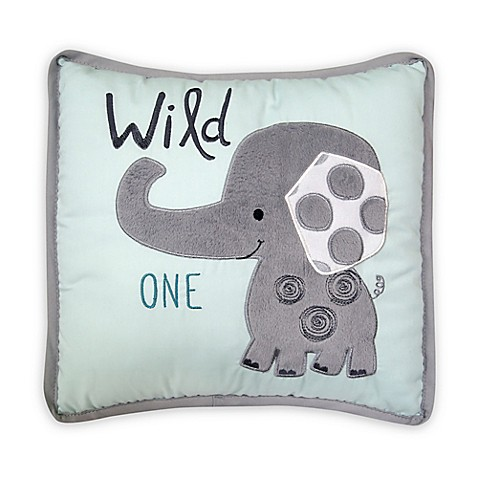 Lambs & Ivy Yoo Hoo Elephant Throw Pillow in Grey/Blue - Bed Bath & Beyond