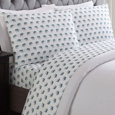 truly soft elephants queen sheet set in white