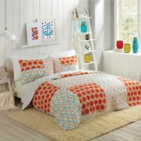 Makers Collective by Bouffants and Broken Hearts Flamingo Citrus Full/Queen Quilt Set in Orange