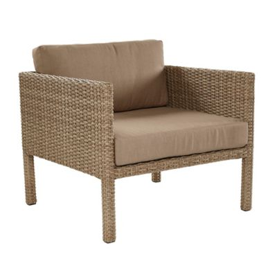All Weather Wicker Aluminum Woven Single Chair In Light Brown