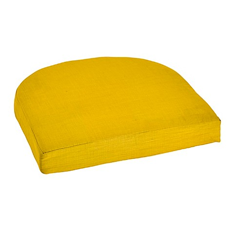 Outdoor wicker cushion in lemon bed bath beyond for Bed bath beyond gel seat cushion