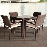 Liberty 5-Piece Square Outdoor Patio Dining Set in Brown with Off-White Cushions
