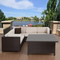 Atlantic Bellagio 7-Piece Outdoor Patio Conversation Set in Brown with Off White Cushions