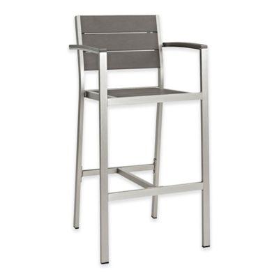 Modway Shore Outdoor Patio Barstool In Silver/Grey