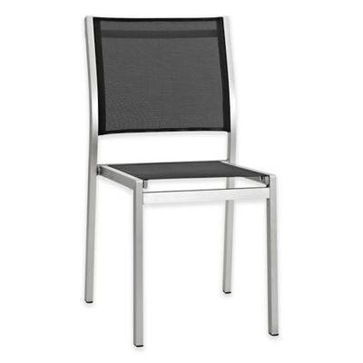 Modway Shore Outdoor Patio Textilene® Mesh Side Chair In Silver/Black