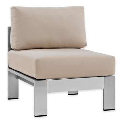 Modway Shore Outdoor Armless Patio Chair In Silver/Beige