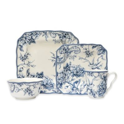 222 Fifth Adelaide 16-Piece Square Dinnerware Set in Blue  sc 1 st  Bed Bath u0026 Beyond & Buy Blue Square Dinnerware Sets from Bed Bath u0026 Beyond