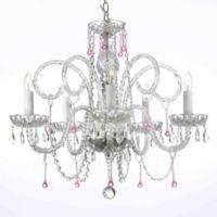 Venetian Style 5 Light Crystal Chandelier In Clear Pink