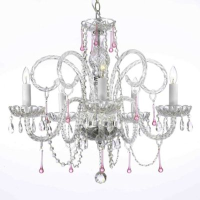 swarovski crystal trimmed 5light chandelier in clearpink