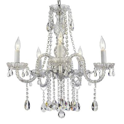 Venetian style 5 light crystal chandelier in clear