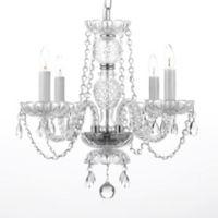 Venetian Style Small 4-Light Crystal Plug-In Chandelier in Clear