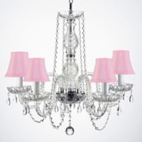 Murano 5-Light Crystal Plug-In Chandelier with Pink Fabric Shade