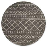 Safavieh Arizona 6-Foot 7-Inch Round Shag Area Rug in Brown/Ivory