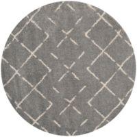 Safavieh Arizona Shag 79-Inch Round Area Rug in Grey/Ivory