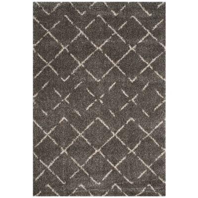 safavieh arizona shag 79inch square area rug in brownivory - Square Area Rugs