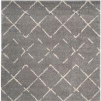 Safavieh Arizona Shag 79-Inch Square Area Rug in Grey/Ivory
