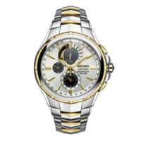 Seiko Coutura Men's 44mm Chronograph Solar Watch in Two-Tone Stainless Steel with White Dial