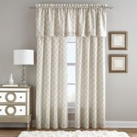 Linen Paisley Rod Pocket Window Curtain Panel in Natural