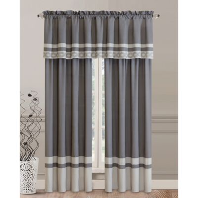 Lovely Callie Rod Pocket Window Curtain Panels In Grey (Set Of 2)