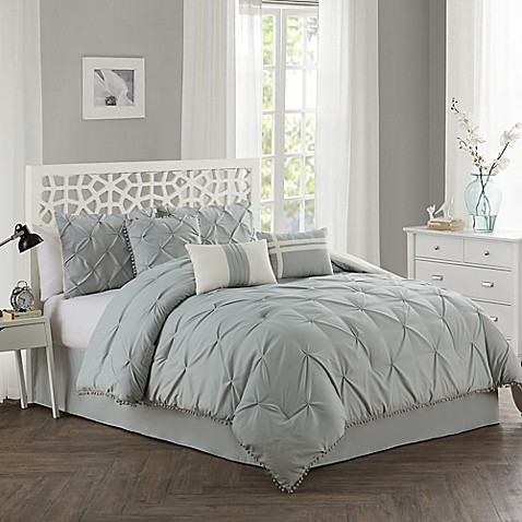 Pom pom comforter set bed bath beyond - Bed bath and beyond bedroom furniture ...