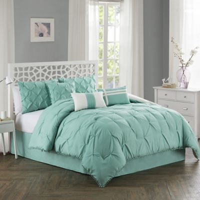 Pom Pom 7 Piece California King Comforter Set in Aqua. Buy Cal King Bedding Sets Comforters from Bed Bath   Beyond