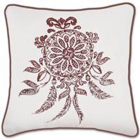 Dreamcatcher Square Throw Pillow in White/Purple