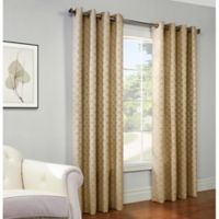 Gladys 84-Inch Grommet Top Window Curtain Panel in Gold