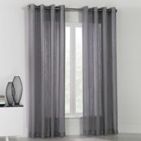 Commonwealth Home Fashions Stella 84-Inch Grommet Top Window Curtain Panel in Grey
