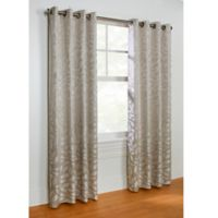 Commonwealth Home Fashions Hammered Leaf 63-Inch Grommet Top Window Curtain Panel in Grey