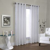 Commonwealth Home Fashions Hammered Leaf 72-Inch Grommet Top Window Curtain Panel in White