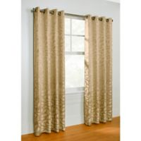 Commonwealth Home Fashions Hammered Leaf 84-Inch Grommet Top Window Curtain Panel in Taupe