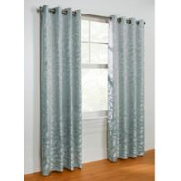 Commonwealth Home Fashions Hammered Leaf 84-Inch Grommet Top Window Curtain Panel in Steel Blue