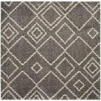 Safavieh Arizona 6-Foot 7-Inch Square Shag Area Rug in Brown/Ivory
