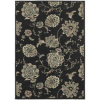 Oriental Weavers Highlands Floral 6-Foot 7-Inch x 9-Foot 6-Inch Area Rug in Midnight