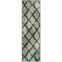 Oriental Weavers Highlands Diamond Grid 2-Foot 3-Inch x 7-Foot 6-Inch Runner in Grey