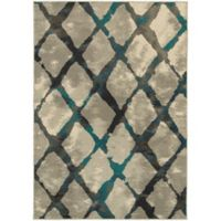 Oriental Weavers Highlands Diamond Grid 3-Foot 10-Inch x 5-Foot 5-Inch Scatter Rug in Grey