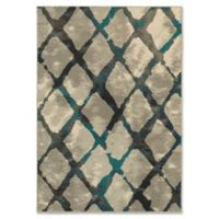 Oriental Weavers Highlands Diamond Grid 5-Foot 3-Inch x 7-Foot 6-Inch Area Rug in Grey