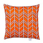 Glenna Jean Happy Camper Herringbone Square Throw Pillow in Orange