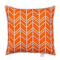Glenna Jean Happy Camper Herringbone Square Throw Pillow in Orange