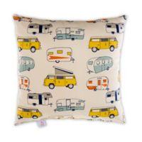 Glenna Jean Happy Camper Retro Square Throw Pillow in White