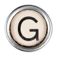 Letter2word Babes & Kiddo Typewriter Key Letter G 8.5-Inch x 8.5-Inch Wall Art