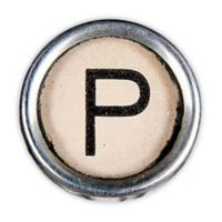 Letter2word Babes & Kiddo Typewriter Key Letter P 8.5-Inch x 8.5-Inch Wall Art